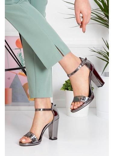 Derithy Karenna Topuklu Ayakkabı-Ten Süet-Byc6308 Gümüş